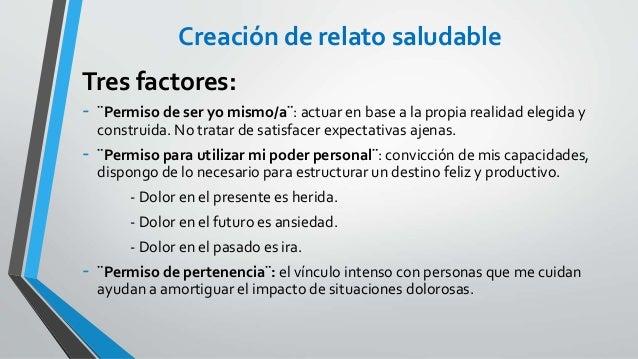 Creación de relato saludable Tres factores: - ¨Permiso de ser yo mismo/a¨: actuar en base a la propia realidad elegida y c...