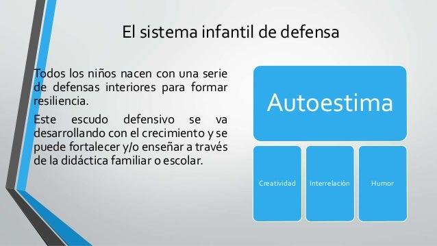 El sistema infantil de defensa Autoestima Creatividad Interrelación Humor Todos los niños nacen con una serie de defensas ...