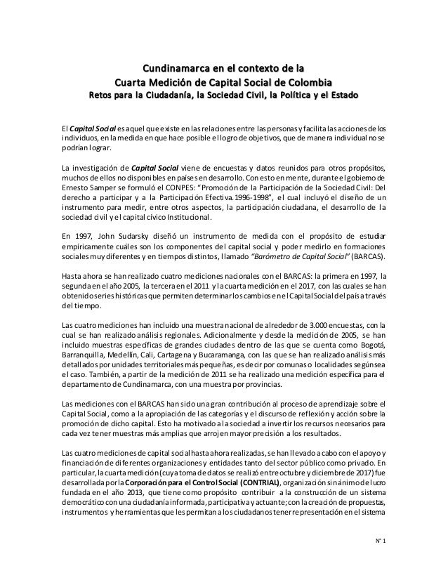 N° 1 Cundinamarca en el contexto de la Cuarta Medición de Capital Social de Colombia Retos para la Ciudadanía, la Sociedad...