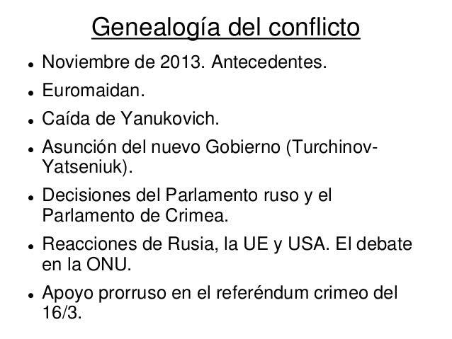 Genealogía del conflicto  Noviembre de 2013. Antecedentes.  Euromaidan.  Caída de Yanukovich.  Asunción del nuevo Gobi...