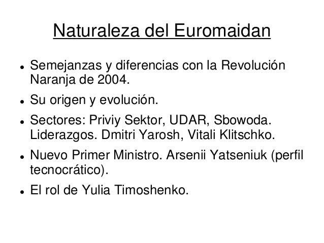 Naturaleza del Euromaidan  Semejanzas y diferencias con la Revolución Naranja de 2004.  Su origen y evolución.  Sectore...