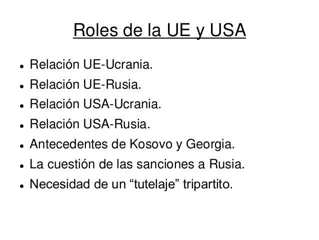 Roles de la UE y USA  Relación UE-Ucrania.  Relación UE-Rusia.  Relación USA-Ucrania.  Relación USA-Rusia.  Anteceden...