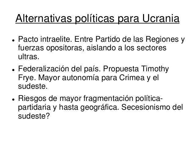 Alternativas políticas para Ucrania  Pacto intraelite. Entre Partido de las Regiones y fuerzas opositoras, aislando a los...