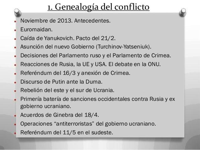 1. Genealogía del conflicto  Noviembre de 2013. Antecedentes.  Euromaidan.  Caída de Yanukovich. Pacto del 21/2.  Asun...