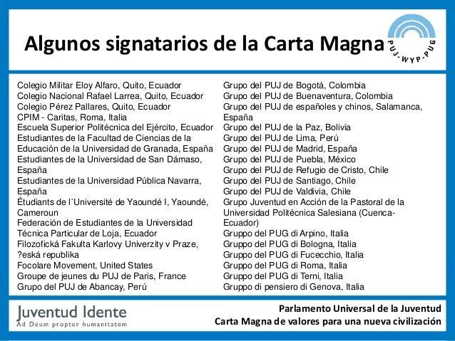 Algunos signatarios de la Carta MagnaColegio Militar Eloy Alfaro, Quito, Ecuador           Grupo del PUJ de Bogotá, Colomb...