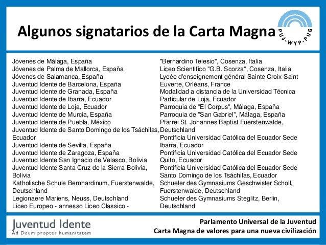 """Algunos signatarios de la Carta MagnaJóvenes de Málaga, España                          """"Bernardino Telesio"""", Cosenza, Ita..."""