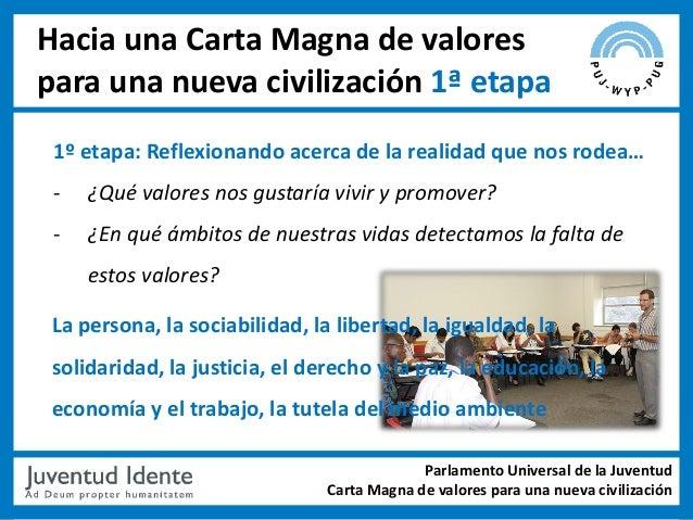 Hacia una Carta Magna de valorespara una nueva civilización 1ª etapa 1º etapa: Reflexionando acerca de la realidad que nos...
