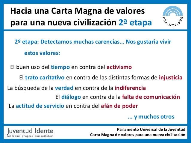 Hacia una Carta Magna de valores para una nueva civilización 2ª etapa  2º etapa: Detectamos muchas carencias… Nos gustaría...