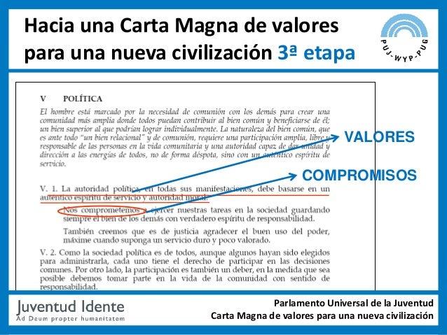 Hacia una Carta Magna de valorespara una nueva civilización 3ª etapa                                                 VALOR...