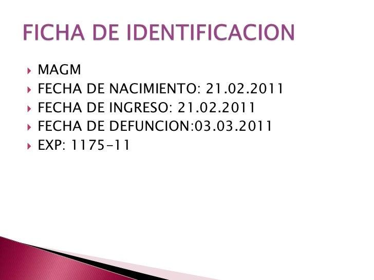 MAGM<br />FECHA DE NACIMIENTO: 21.02.2011<br />FECHA DE INGRESO: 21.02.2011<br />FECHA DE DEFUNCION:03.03.2011<br />EXP: 1...