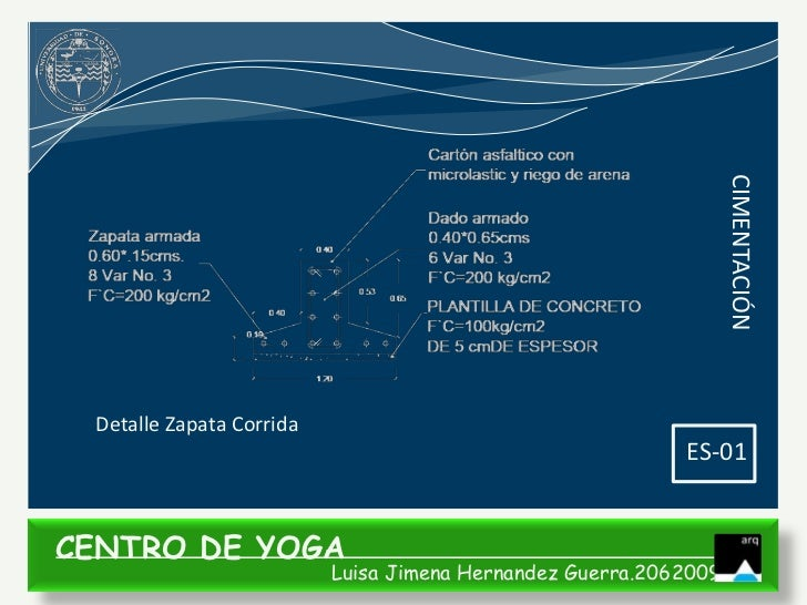 CIMENTACIÓN Detalle Zapata Corrida                                                           ES-01CENTRO DE YOGA          ...