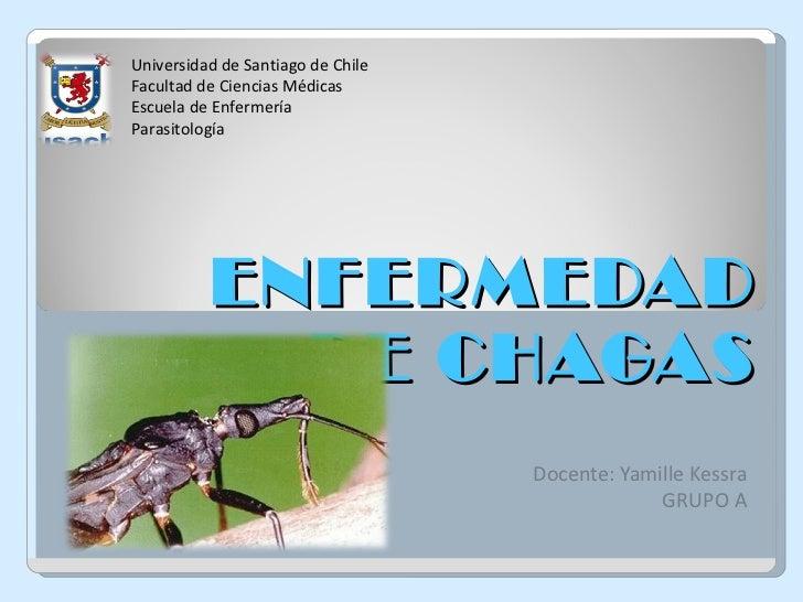 ENFERMEDAD DE CHAGAS Docente: Yamille Kessra GRUPO A Universidad de Santiago de Chile Facultad de Ciencias Médicas Escuela...