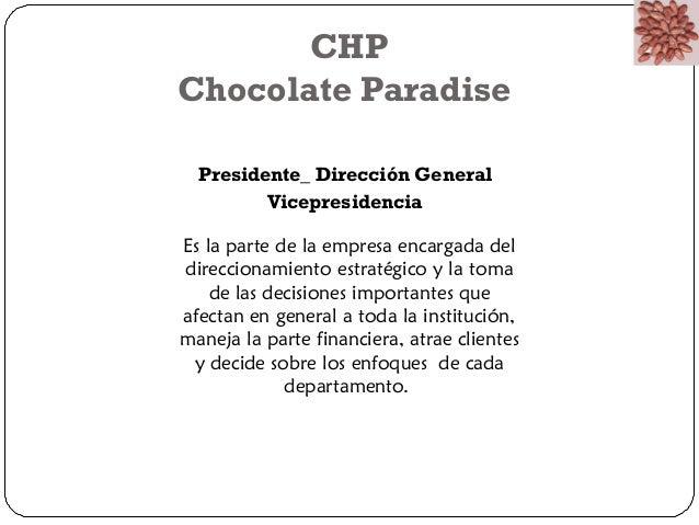 CHP  Chocolate Paradise  Presidente_ Dirección General  Vicepresidencia  Es la parte de la empresa encargada del  direccio...