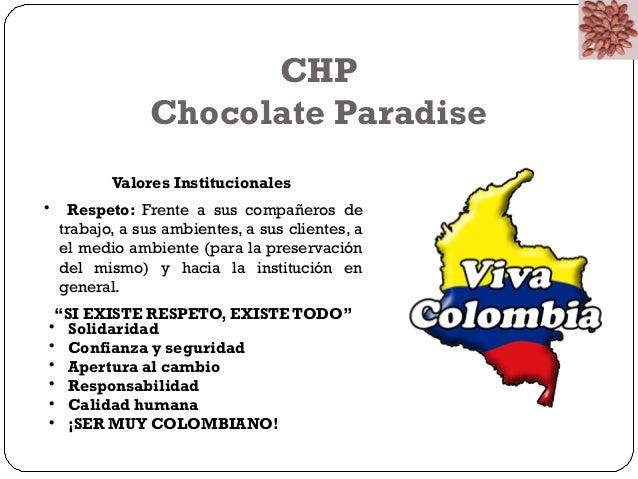 CHP  Chocolate Paradise  Valores Institucionales  • Respeto: Frente a sus compañeros de  trabajo, a sus ambientes, a sus c...