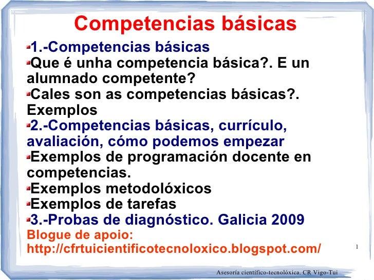 Competencias básicas 1.-Competencias básicas Que é unha competencia básica?. E un alumnado competente? Cales son as compet...