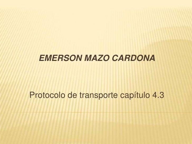 EMERSON MAZO CARDONA<br />Protocolo de transporte capítulo 4.3<br />