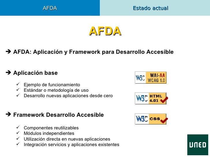 AFDA                                     Estado actual                                       AFDA AFDA: Aplicación y Fram...