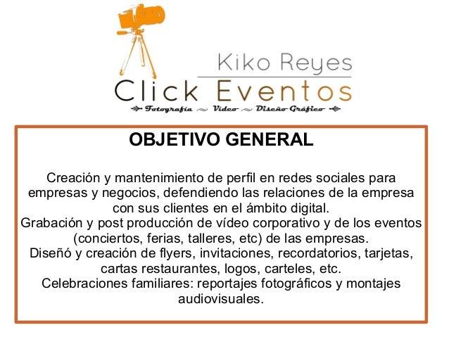 Presentacion click eventos for Objetivo general de un vivero
