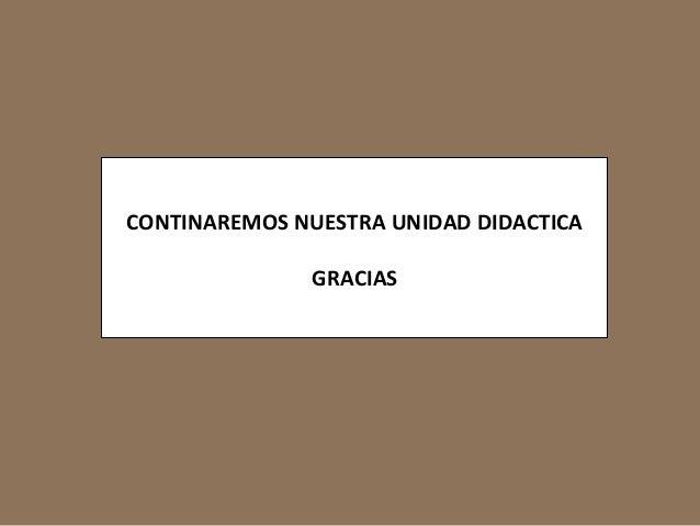 CONTINAREMOS NUESTRA UNIDAD DIDACTICA  GRACIAS