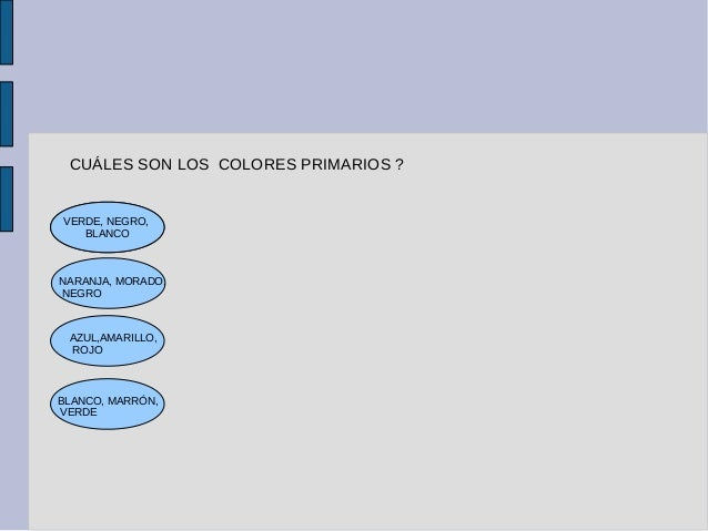 CUÁLES SON LOS COLORES PRIMARIOS ? VERDE, NEGRO, BLANCO NARANJA, MORADO, NEGRO AZUL,AMARILLO, ROJO BLANCO, MARRÓN, VERDE