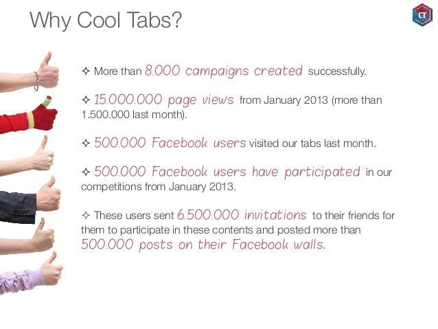 Why Cool Tabs? ² More than 8.000 campaigns created successfully. ² 15.000.000 page views from January 2013 (more than ...