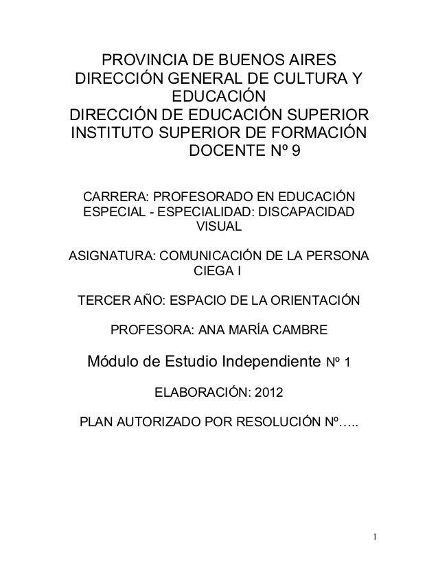 PROVINCIA DE BUENOS AIRES DIRECCIÓN GENERAL DE CULTURA Y           EDUCACIÓNDIRECCIÓN DE EDUCACIÓN SUPERIORINSTITUTO SUPER...