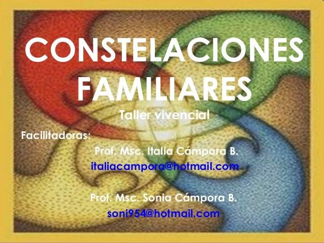 CONSTELACIONES FAMILIARES Taller vivencial Facilitadoras: Prof. Msc. Italia Cámpora B. italiacampora@hotmail.com Prof. Msc...