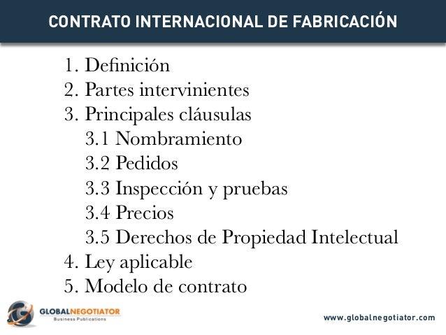 CONTRATO INTERNACIONAL DE FABRICACIÓN 1. Definición 2. Partes intervinientes 3. Principales cláusulas 3.1 Nombramiento 3.2...