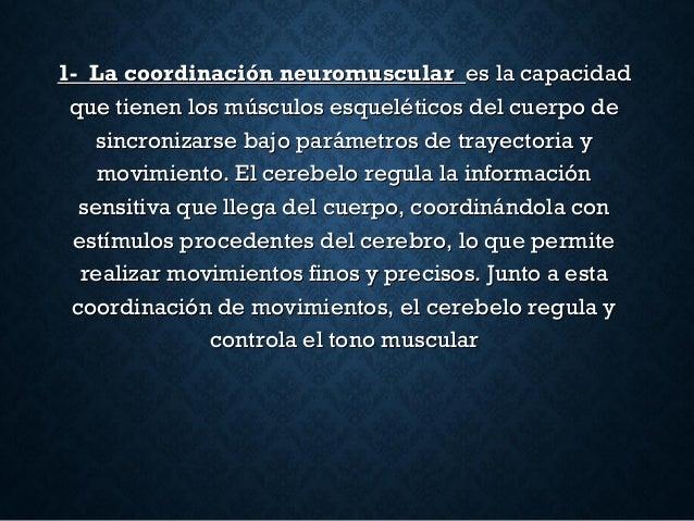 1- La coordinación neuromuscular1- La coordinación neuromuscular es la capacidades la capacidad que tienen los músculos es...