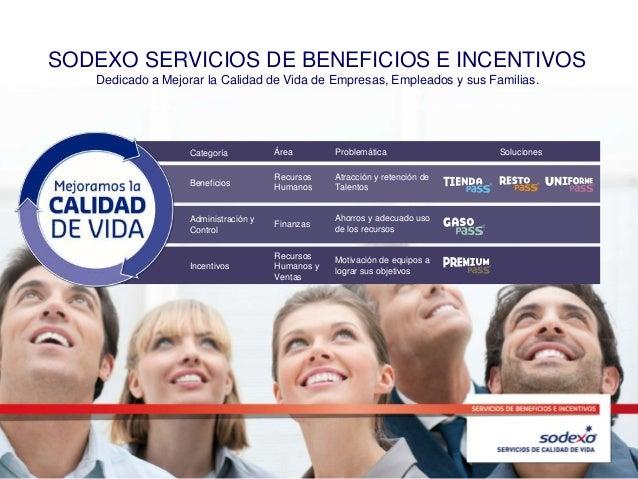 SODEXO SERVICIOS DE BENEFICIOS E INCENTIVOS Dedicado a Mejorar la Calidad de Vida de Empresas, Empleados y sus Familias. C...