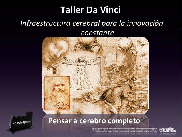 Taller Da Vinci Infraestructura cerebral para la innovación constante Pensar a cerebro completo