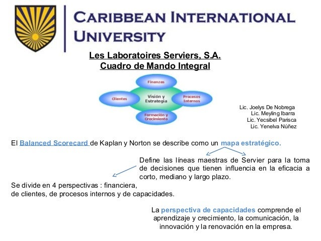 Les Laboratoires Serviers, S.A.                          Cuadro de Mando Integral                                         ...
