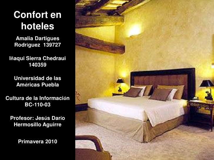 Confort en hoteles<br />Amalia Dartigues Rodríguez  139727<br />Iñaqui Sierra Chedraui  140359<br />Universidad de las Amé...