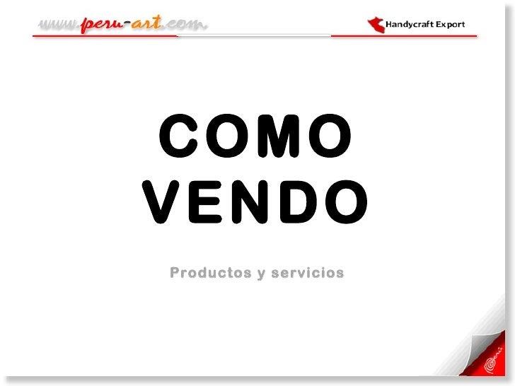 COMO VENDO Productos y servicios