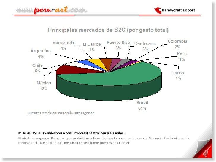 <ul><li>MERCADOS B2C (Vendedores a consumidores) Centro , Sur y el Caribe  :  </li></ul><ul><li>El nivel de empresas Perua...
