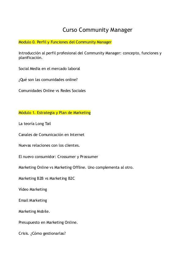 Curso Community ManagerModulo 0. Perfil y Funciones del Community ManagerIntroducción al perfil profesional del Community ...