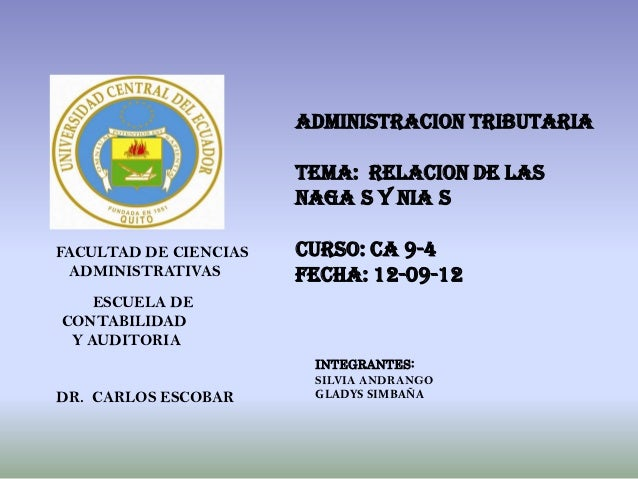 ADMINISTRACION TRIBUTARIA                       TEMA: RELACION DE LAS                       NAGA S Y NIA SFACULTAD DE CIEN...