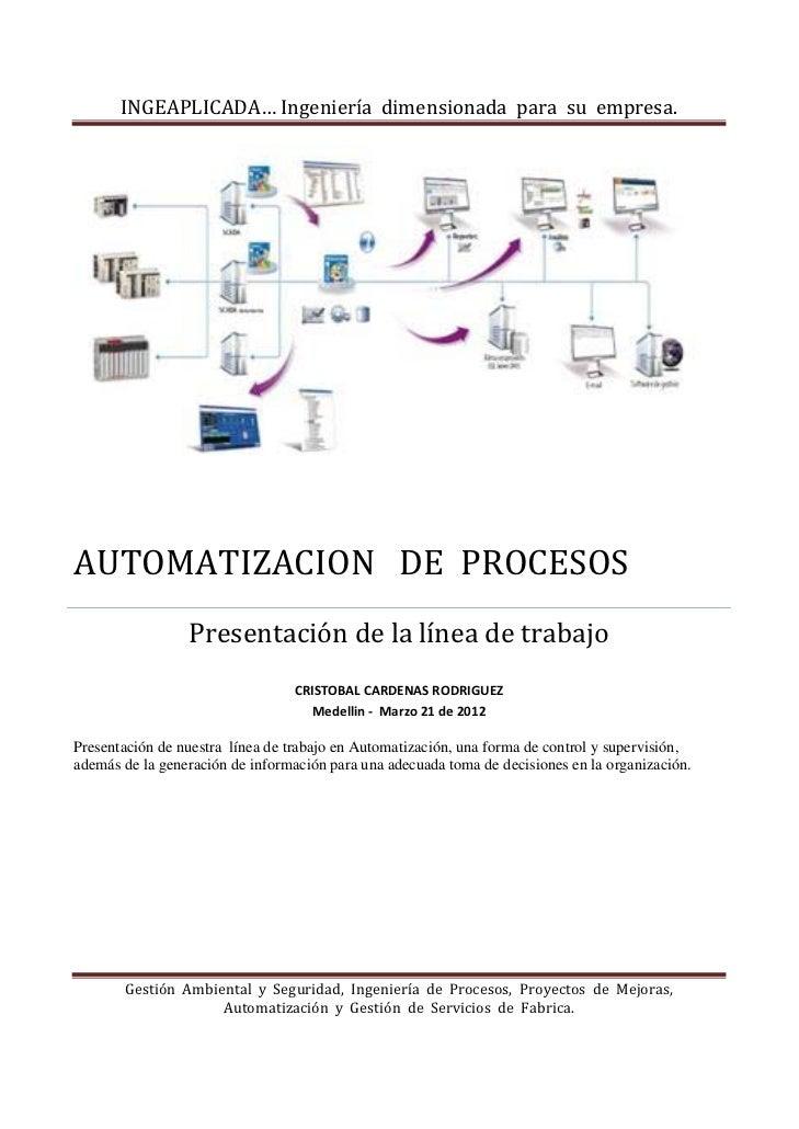 INGEAPLICADA…Ingenieríadimensionadaparasuempresa.AUTOMATIZACIONDEPROCESOS                 Presentación...