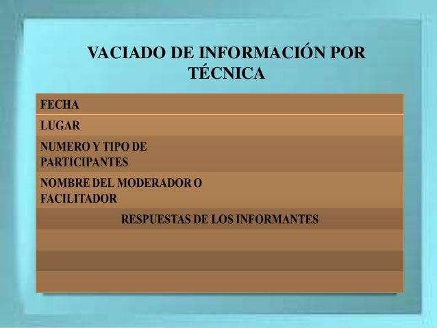 VACIADO DE INFORMACIÓN POR TÉCNICA