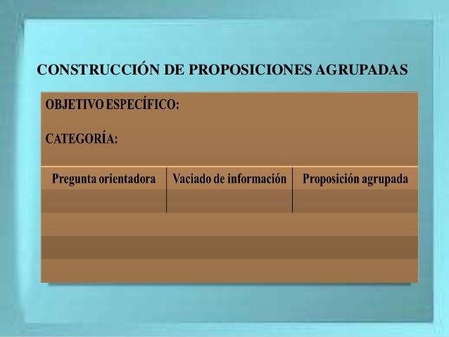 CONSTRUCCIÓN DE PROPOSICIONES AGRUPADAS