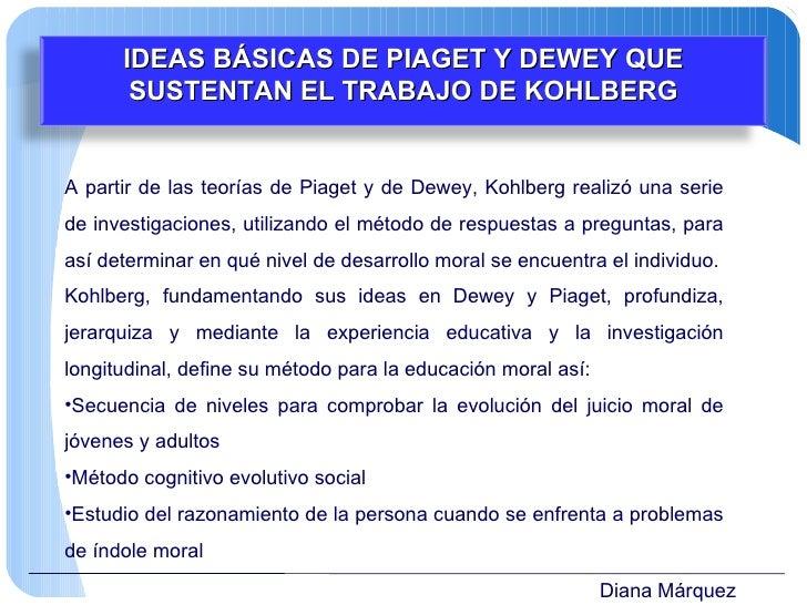 Diana Márquez <ul><li>A partir de las teorías de Piaget y de Dewey, Kohlberg realizó una serie de investigaciones, utiliza...