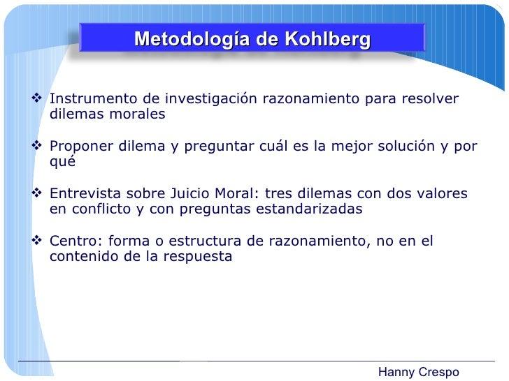 Hanny Crespo <ul><li>Instrumento de investigación razonamiento para resolver dilemas morales </li></ul><ul><li>Proponer di...