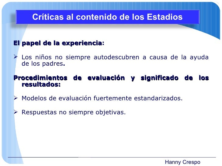 Hanny Crespo <ul><li>El papel de la experiencia : </li></ul><ul><li>Los niños no siempre autodescubren a causa de la ayuda...
