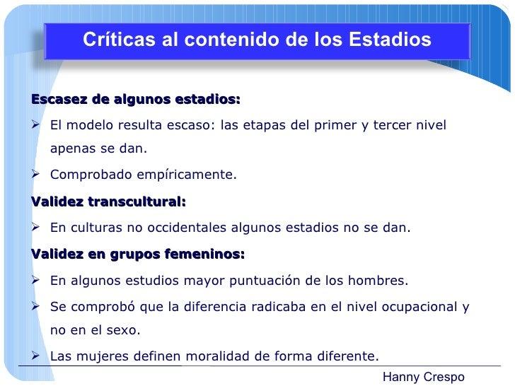 Hanny Crespo <ul><li>Escasez de algunos estadios: </li></ul><ul><li>El modelo resulta escaso: las etapas del primer y terc...