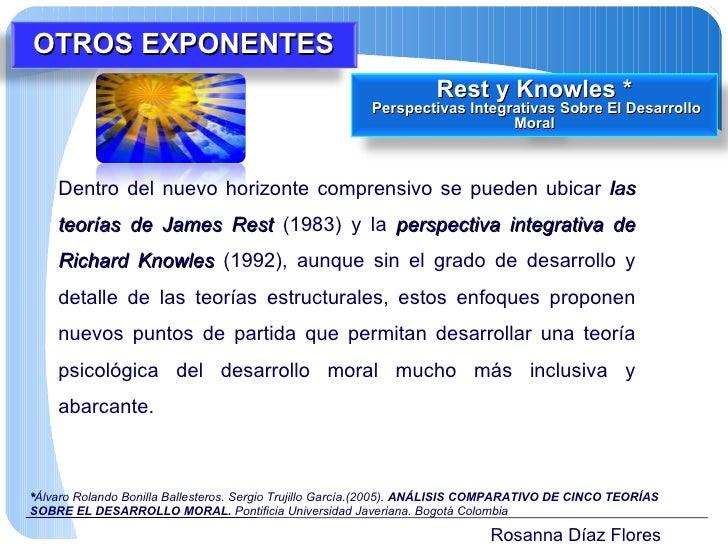 Rosanna Díaz Flores Dentro del nuevo horizonte comprensivo se pueden ubicar  las teorías de James Rest  (1983) y la  persp...