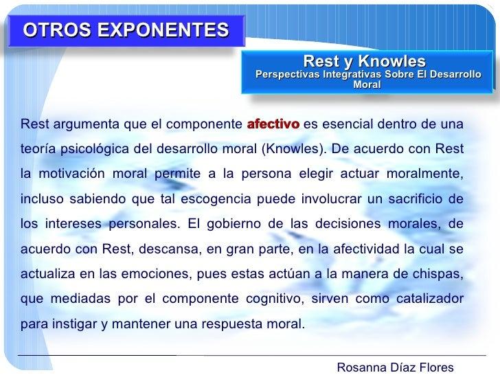 Rosanna Díaz Flores Rest argumenta que el componente  afectivo  es esencial dentro de una teoría psicológica del desarroll...