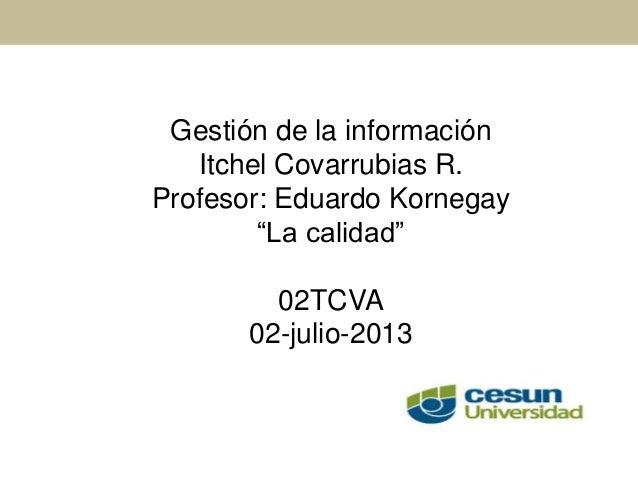 """Gestión de la información Itchel Covarrubias R. Profesor: Eduardo Kornegay """"La calidad"""" 02TCVA 02-julio-2013"""