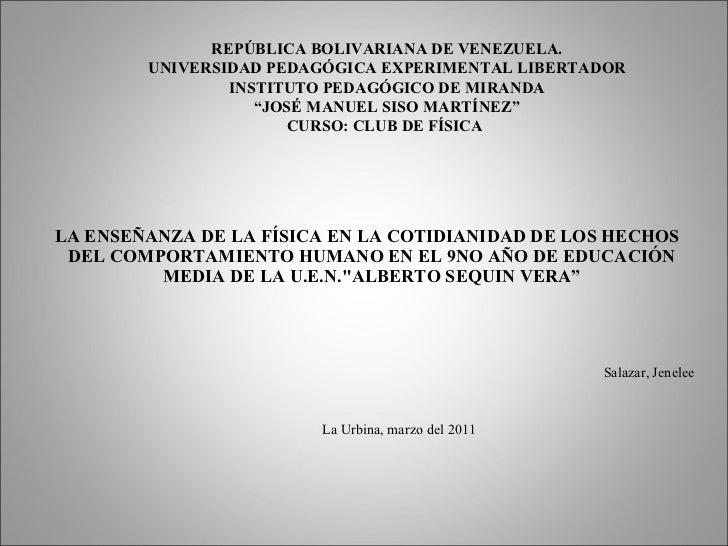 LA ENSEÑANZA DE LA FÍSICA EN LA COTIDIANIDAD DE LOS HECHOS  DEL COMPORTAMIENTO HUMANO EN EL 9NO AÑO DE EDUCACIÓN  MEDIA DE...