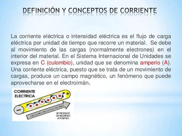 La corriente eléctrica o intensidad eléctrica es el flujo de carga eléctrica por unidad de tiempo que recorre un material....