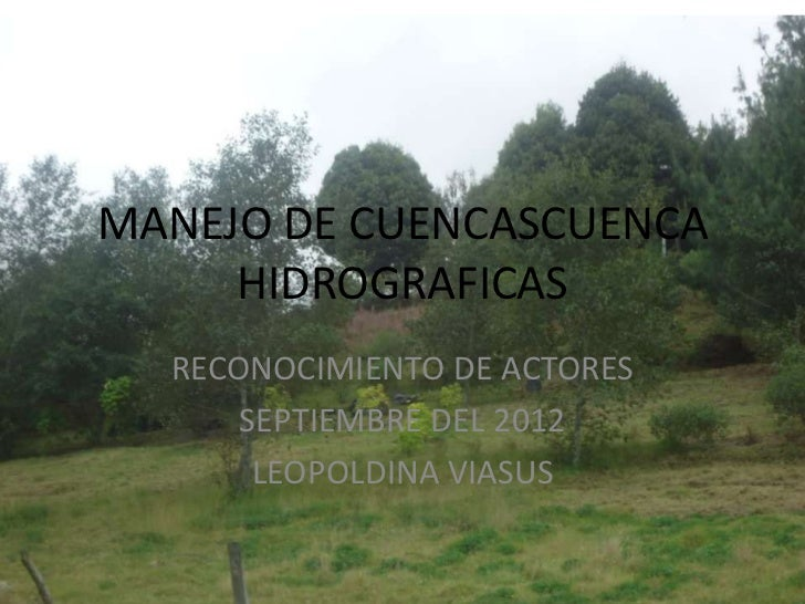 MANEJO DE CUENCASCUENCA     HIDROGRAFICAS  RECONOCIMIENTO DE ACTORES      SEPTIEMBRE DEL 2012       LEOPOLDINA VIASUS